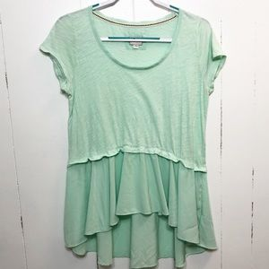 Anthropologie 9-HI 5 Green Swing Asymmetrical Top